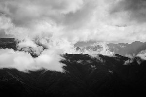 Clouds over Mountains Black & White