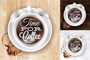 Poster cup coffee alarm clock