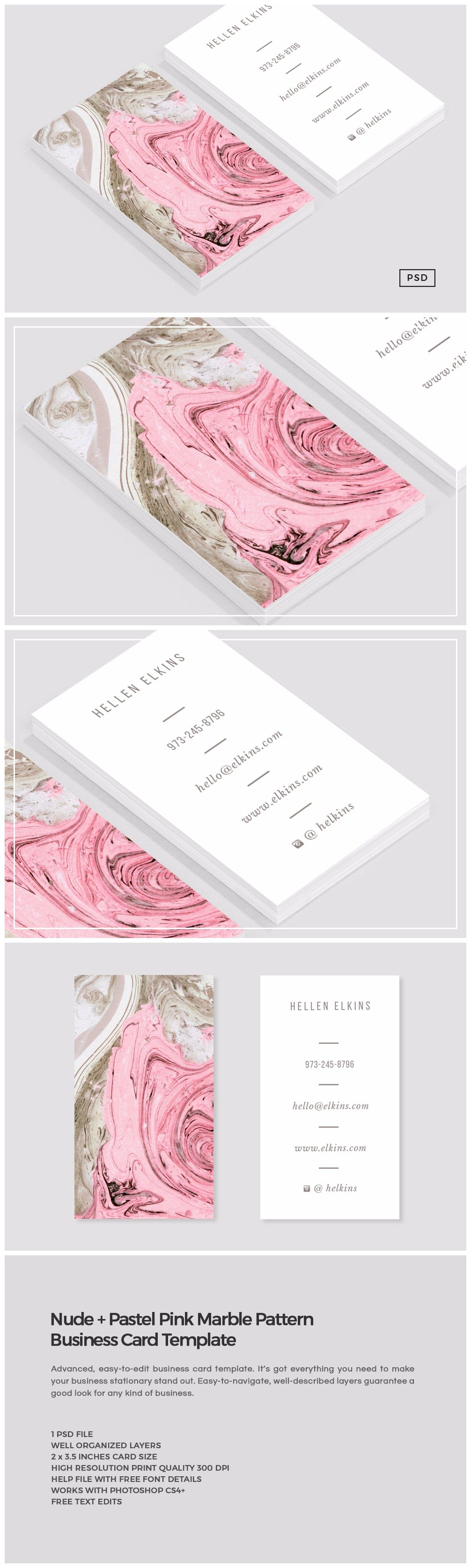 Nude pink marble business card business card templates nude pink marble business card business card templates creative market kristyandbryce Images