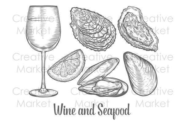 Seafood and wine hand drawn set