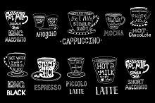 Type of coffee. Coffee menu. Vector.