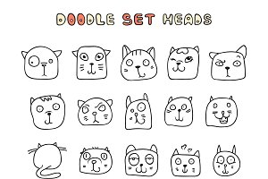 Set of 25 doodle cats