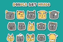 Set of 25 doodle cats. Funny animals