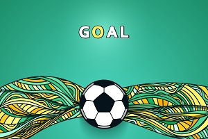 Soccer ball banner with background.