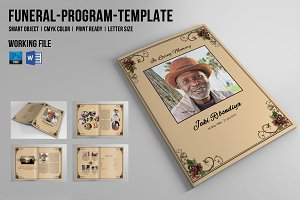 8 Page Funeral Booklet Template-V510