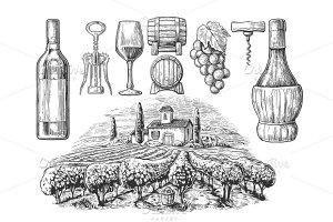 Wine engraved set - bottle vineyard