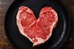 Heart shape Raw meat Steak