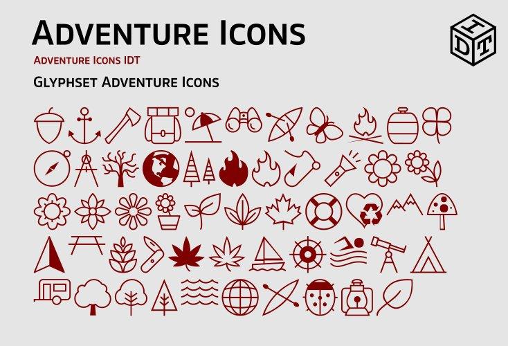 Adventure Icons Web Fontfree Symbol Fonts Creative Market