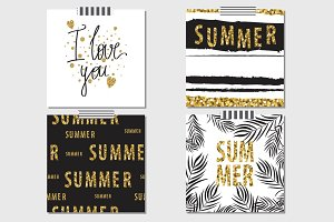 Vector summer gold cards