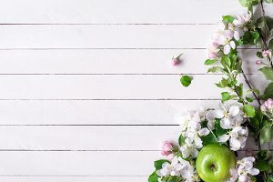 White wooden background and blossoms