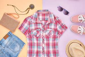 Hipster style. Summer Fashion girl clothes set.