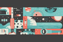 Universe rocket abstract background