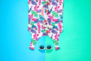 Summer hipster clothes set. Beach minimal style.