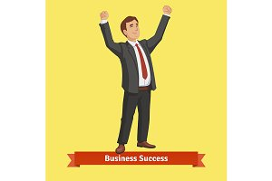 Businessman celebrating success
