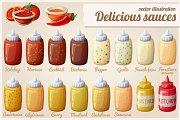 Sauces set. Cartoon vector icons
