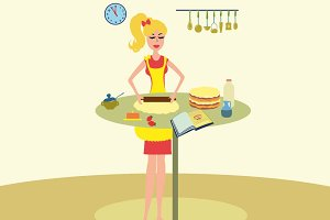 Woman baking cake in kitchen vector