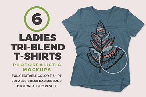 Ladies Tri-Blend T-shirts Mockups