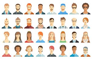 Set of avatar icons. Portraits.