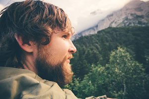 Man Traveler bearded face outdoor