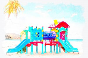 watercolor playground on beach