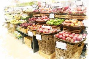 watercolor fruit market