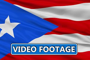 Waving National Flag of Puerto Rico