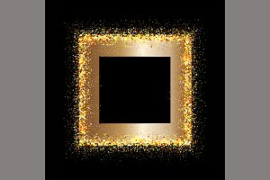Golden frame on black background