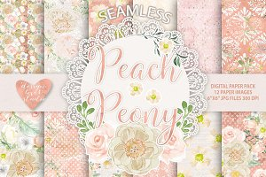 Watercolor peony peach digital paper