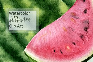 Watercolor Watermelon Clip Art