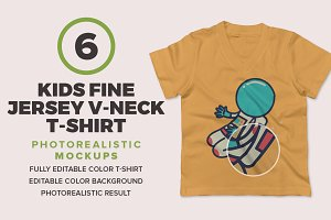 Kids Fine Jersey V-Neck Mockups