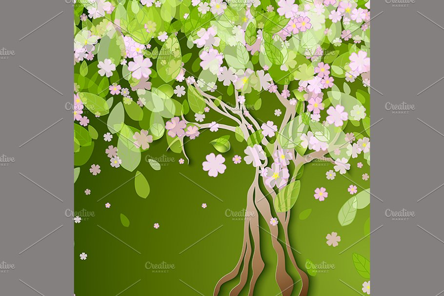 stylized spring tree