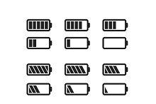 Set of simple battery icons