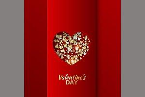 Gold hearts valentine day