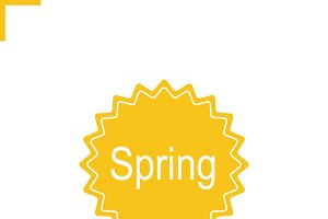 Spring sticker icon. Vector