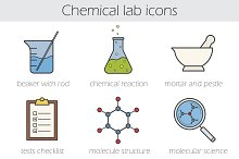 Chemical lab icons. Vector