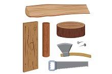 Set wood and tools