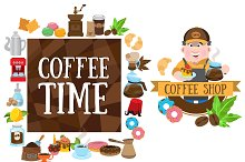 Coffee shop. Big set illustrations.