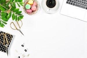 Coffee, macaroon cookies, laptop