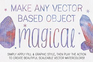 Watercolor Wizard Illustrator Action