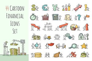 Cartoon financial icons with people