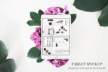 PSD Tablet Mockup Floral Stock Photo