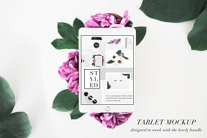 PSD Tablet Mockup Floral Stock Photo