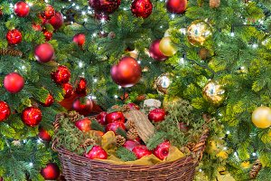Christmas decorations by tree