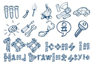 100 icons hand drawing style.