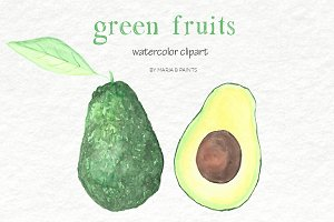 Watercolor Clip Art - Green Fruit
