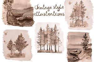 Vintage style watercolor landscapes