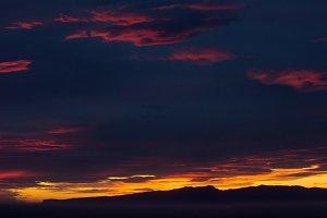 Panoramic sunset off New Zealand