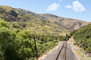 Railway in Taieri Gorge in N Zealand