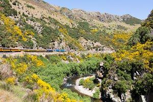 Railway in Taieri Gorge in N Zealand