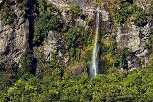 Waterfall Milford Sound New Zealand